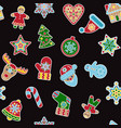 christmas and new year outline seamless pattern vector image vector image