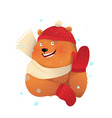 christmas bear in winter clothes scarf and hat vector image