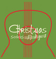 christmas guitar music poster old background with vector image vector image