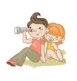 couple boy and girl vacation hand drawn ill vector image