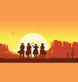 cowboys riding horses at sunset prairie vector image vector image