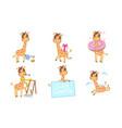 cute adorable giraffe character set cheerful vector image vector image