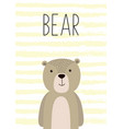 Cute card with hand drawn bear poster card for