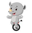 cute happy rhino riding unicycle vector image vector image