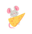 cute mouse with cheese funny animal cartoon vector image vector image