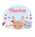 cute rabbit cat dog faces hearts adorable cartoon vector image vector image