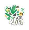 exotic sicilia island summer vacation travel logo vector image vector image