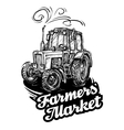 farm tractor hand-drawn sketch vector image vector image
