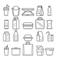 fastfood packing icons vector image vector image