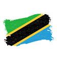 flag of tanzania grunge abstract brush stroke vector image vector image