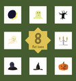 flat icon halloween set of spirit candlestick vector image vector image