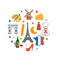 france with icons on white vector image