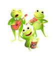 frogs concert playing musical instruments and sing vector image