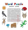 funny animals word puzzle smart game vector image