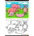 funny pigs animal characters group color book vector image vector image