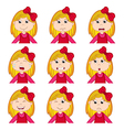 girl faces showing different emotions vector image vector image