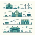 Green city silhouette eco infographic element line vector image vector image