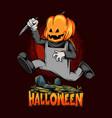 halloween pumpkin head zombie running over vector image