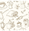 hand drawn coffee seamless pattern vector image vector image