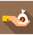 Hand holding money icon flat style vector image vector image