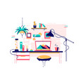 homely stylish home office workplace modern vector image