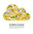 icons cloud isometric many symbols vector image