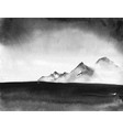 ink wash painting landscape with distant mountains vector image vector image