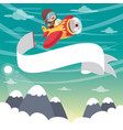 kid flying plane with banner vector image