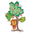 lion in the tree cute cartoon vector image