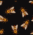 lot detailed realistic honey bees many insects vector image