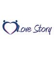love story logo love hearts vector image