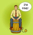 man on powder keg pop art vector image