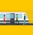 metro station banner horizontal flat style vector image