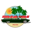 Miami car cadillac cabriolet poster vector image vector image