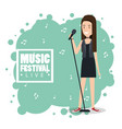 music festival live with woman singing vector image