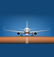 night takeoff plane in airport front view vector image vector image