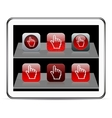 Pixel hand red app icons vector image