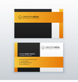 professional yellow and black business card vector image vector image