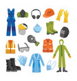 protective uniform and equipment flat set vector image