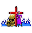 purgatory nun in fire cartoon character vector image