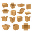 set isolated isometric 3d carton boxes vector image