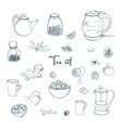set tea party objects collection with hand drawn vector image