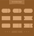 set ticket shape silhouettes template vector image