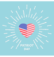 Shining heart flag Star and strip Patriot day Flat vector image vector image