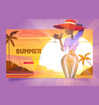 summer banner with silhouette woman in hat vector image