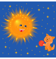 Sun And Kitten With A Ball vector image vector image