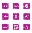tropical training icons set grunge style vector image