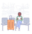 young man sitting in airport vector image vector image