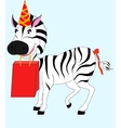 zebra with gift vector image vector image