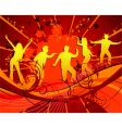 dancing silhouettes grunge vector image